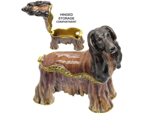 Afghan Hound Jeweled Trinket Box with Austrian Crystals