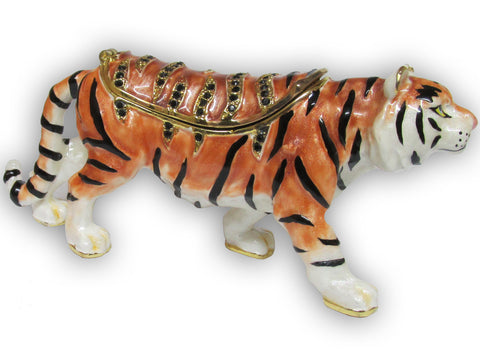 Tiger Jeweled Trinket Box with SWAROVSKI Crystals