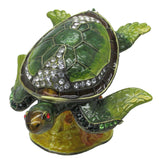 Sea Turtle Jeweled Trinket Box with Austrian Crystals