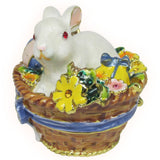 Bunny in Basket Jeweled Trinket Box with SWAROVSKI Crystals