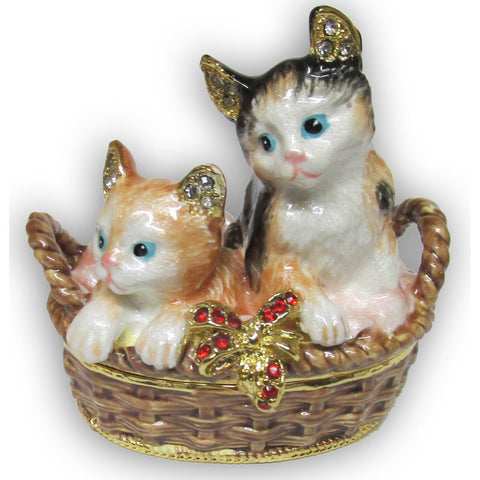 Kittens Jeweled Trinket Box with SWAROVSKI Crystals