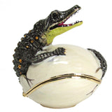Alligator (Hatching) Jeweled Trinket Box with SWAROVSKI Crystals