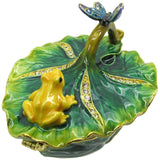 Frog & Butterfly Jeweled Trinket Box with Austrian Crystals, #2