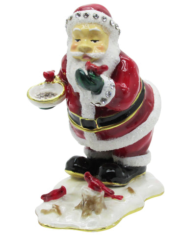 Santa with Birds Jeweled Trinket Box with SWAROVSKI Crystals