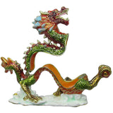 Dragon Jeweled Trinket Box with Austrian Crystals, Green