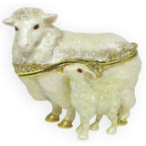 Sheep & Baby Jeweled Trinket Box with SWAROVSKI Crystals