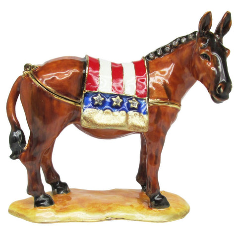 Democratic Donkey Jeweled Trinket Box with SWAROVSKI Crystals