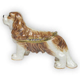 Dog (King Charles) Jeweled Trinket Box with SWAROVSKI Crystals