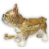 French Bulldog & Puppy Jeweled Trinket Box with SWAROVSKI Crystals