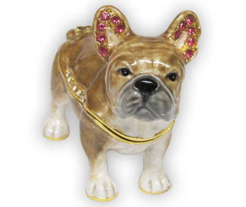 Dog, French Bulldog Jeweled Trinket Box with SWAROVSKI Crystals