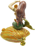 Mermaid / Shell Jeweled Trinket Box with SWAROVSKI Crystals