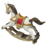 Rocking Horse Jeweled Trinket Box with Austrian Crystals, White