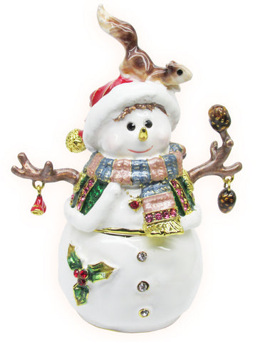 Snowman w/Squirrel Jeweled Trinket Box with SWAROVSKI Crystals