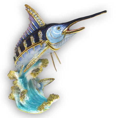 Fish, (Marlin) Jeweled Trinket Box with SWAROVSKI Crystals