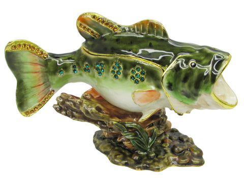 Fish (Largemouth Bass) Jeweled Trinket Box with SWAROVSKI Crystals