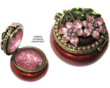 Mini Flower Jeweled Trinket Box with Austrian  Crystals