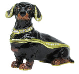 Dachshund Jeweled Trinket Box with SWAROVSKI Crystals, Black