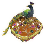 Peacock Jeweled Trinket Box with SWAROVSKI Crystals