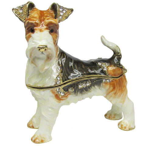 Fox Terrier Jeweled Trinket Box with SWAROVSKI Crystals