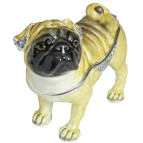 Dog (Pug) Jeweled Trinket Box with SWAROVSKI Crystals