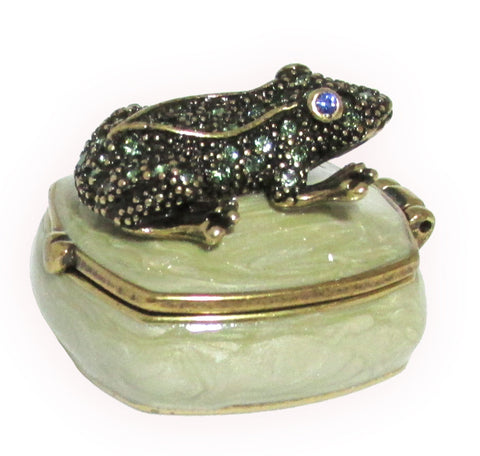 Mini Frog Jeweled Trinket Box with Austrian Crystals, #2