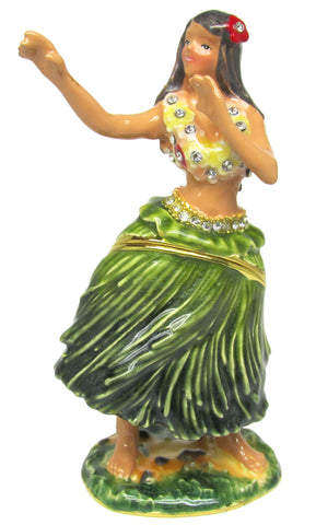 Hula Dancer Jeweled Trinket Box with SWAROVSKI Crystals