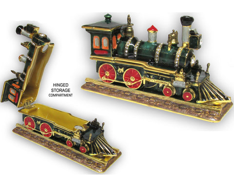 Locomotive Jeweled Trinket Box with Austrian Crystals