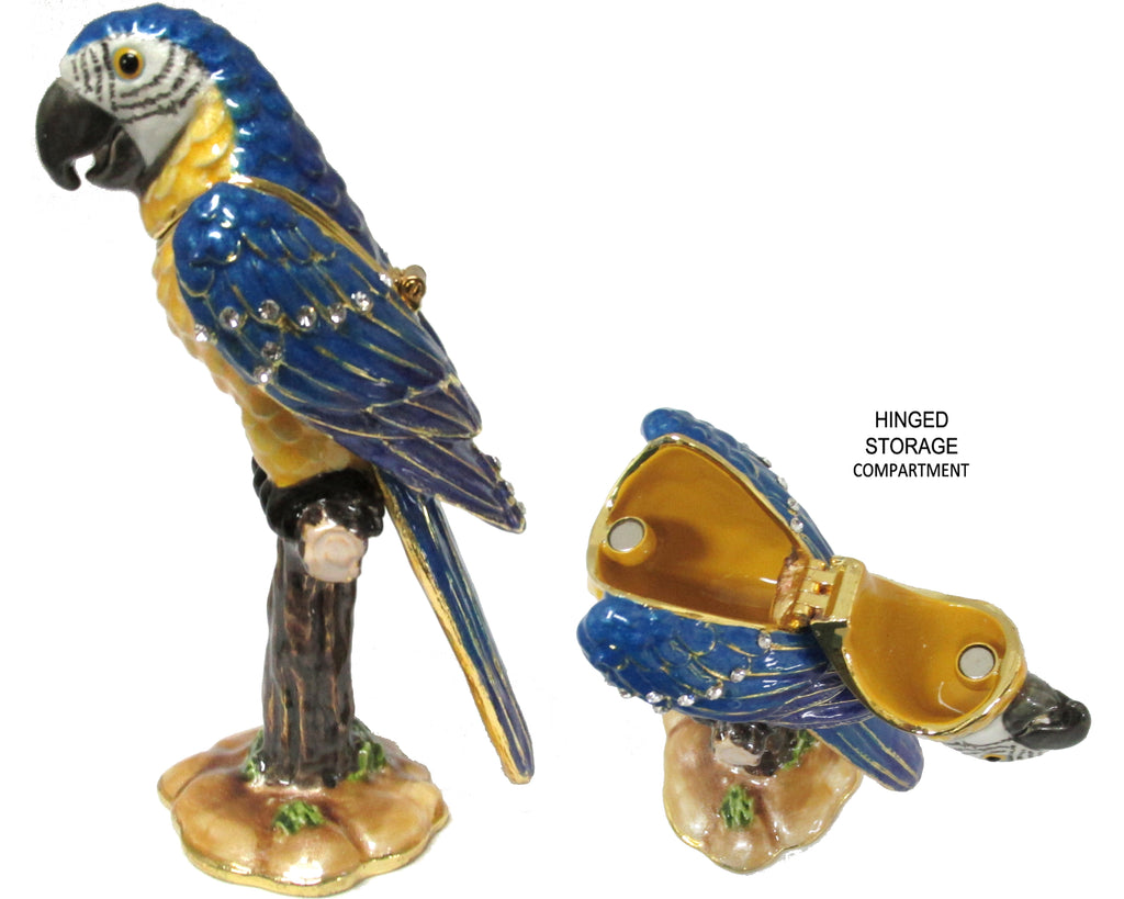 Parrot Jeweled Trinket Box with Austrian Crystals
