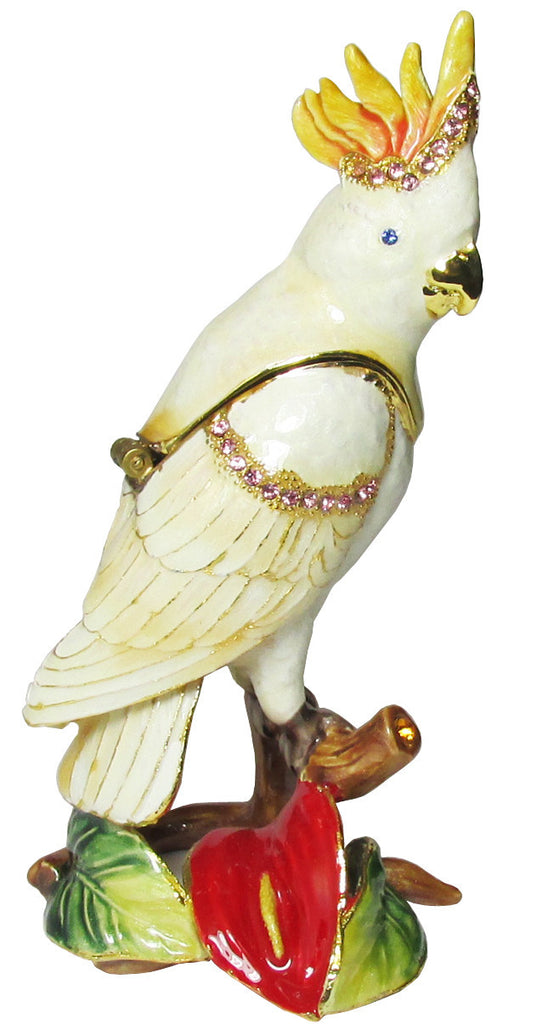 Cockatoo Jeweled Trinket Box with Austrian Crystals, White