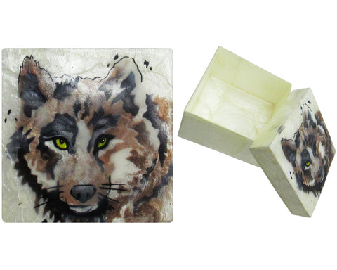 "Capiz Shell Trinket Box, 3"", Wolf"
