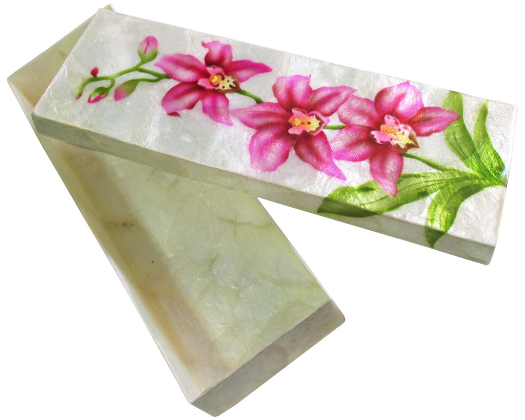 "Capiz Shell Trinket Box, 9"", Orchids"