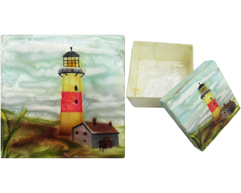 "Capiz Shell Trinket Box, 3"", Lighthouse"