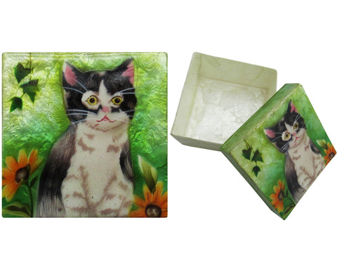"Capiz Shell Trinket Box, 3"", Kitten"