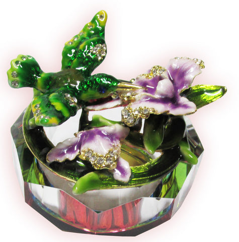 Hummingbird Glass Bejeweled Trinket Box