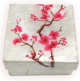 "Capiz Shell Trinket Box, 3"", Cherry Blossom"