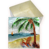 "Capiz Shell Trinket Box, 4"", Beach Scene"