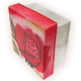 "Capiz Shell Trinket Box, 3"", Red Rose"