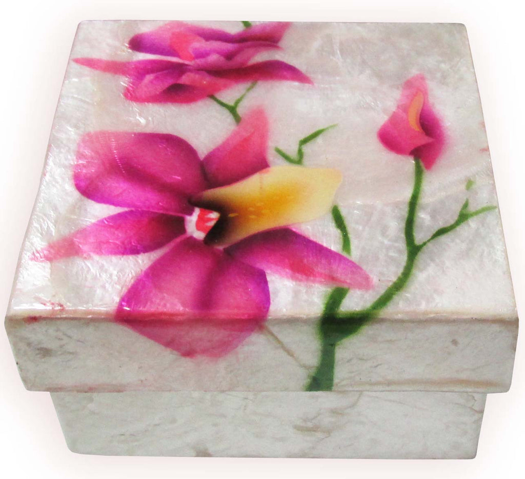 "Capiz Shell Trinket Box, 3"", Orchids"