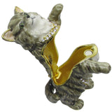 Earl Grey Cat Jeweled Trinket Box with Austrian Crystals