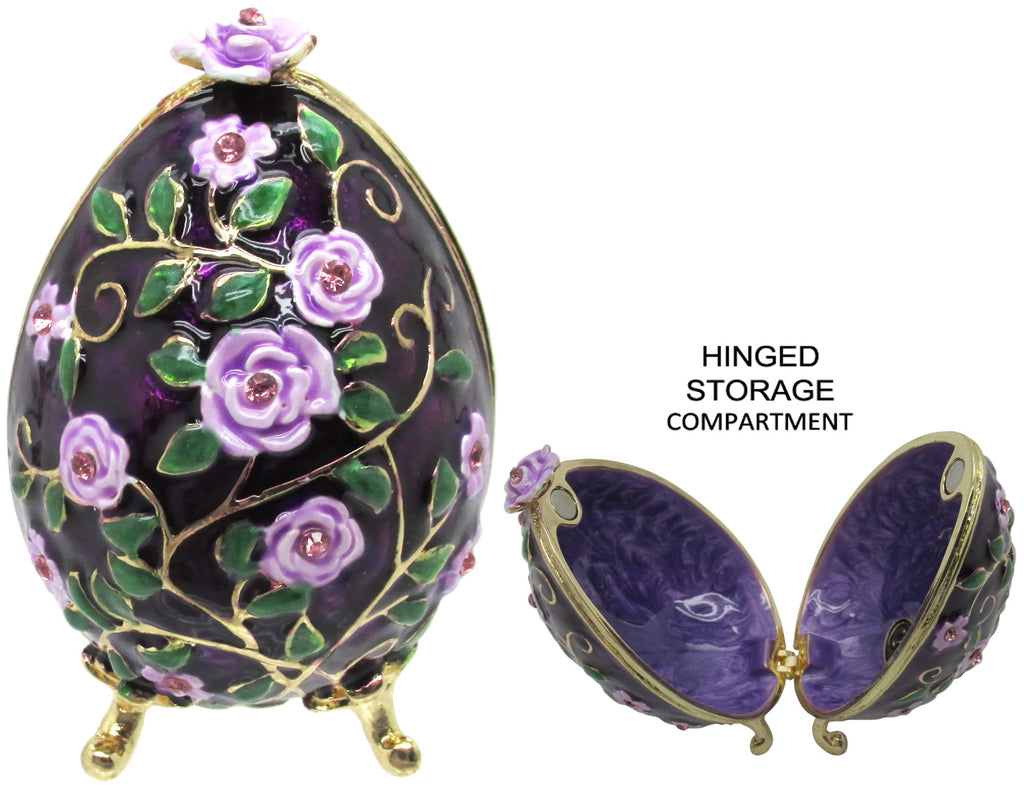 Floral Egg Jeweled Trinket Box with SWAROVSKI Crystals