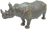 Rhino Jeweled Trinket Box with SWAROVSKI Crystals, Grey