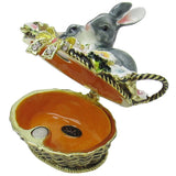 Bunny Rabbits in Basket Jeweled Trinket Box with SWAROVSKI Crystals