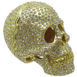 Skull Jeweled Trinket Box with Austrian Crystals, Gold