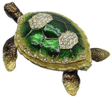 Sea Turtle Jeweled Trinket Box with Austrian Crystals, Large