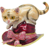 Cat On a Hat Jeweled Trinket Box with Austrian Crystals