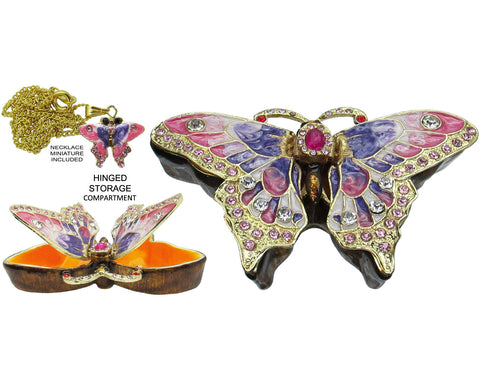 Butterfly Jeweled Trinket Box with Austrian Crystals, Purple