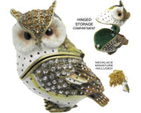 Horned Owl Jeweled Trinket Box with Austrian Crystals