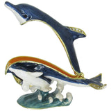 Dolphin & Baby Jeweled Trinket Box with Austrian Crystals