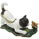 Cat & Butterfly Jeweled Trinket Box with Austrian Crystals, White