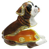 Boxer Puppy Jeweled Trinket Box with Austrian Crystals